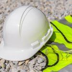 Construction worker hi-vis safety equipment.